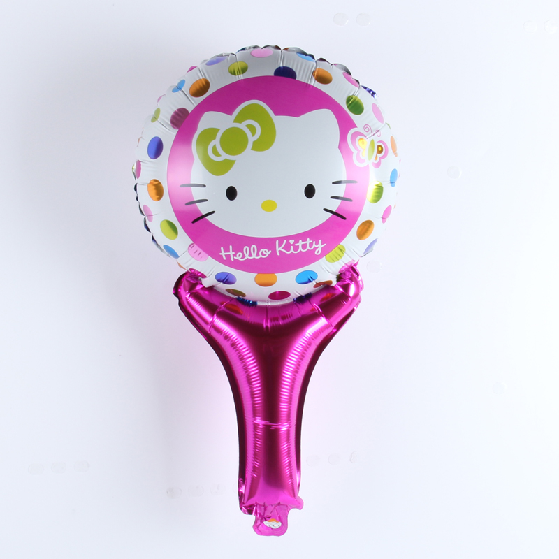 10pcs/lot Wholesale Hello kitty Hand held Balloon Aluminum Foil Balloons Party Decoration Balloons Celebration Supplies