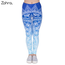 Zohra High Quality Women Legins Mandala Ombre Blue Printing Legging Fashion Casual High Waist Woman Leggings(China (Mainland))