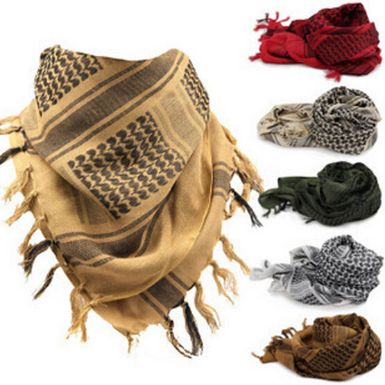 Arab Scarves Men Winter Military Windproof Scarf 100% Cotton thin Muslim Hijab Shemagh Tactical Desert Arabic Scarf(China (Mainland))