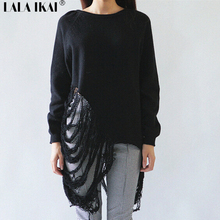 Women Loose Sweater Ripped Out Pullover Spring Tassels Knitwear Black/White Wool Blends Top(China (Mainland))