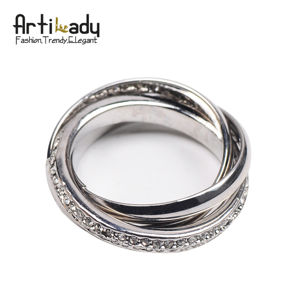 Artilady fashion punk 3layers women jewelry twist ring christmas gift