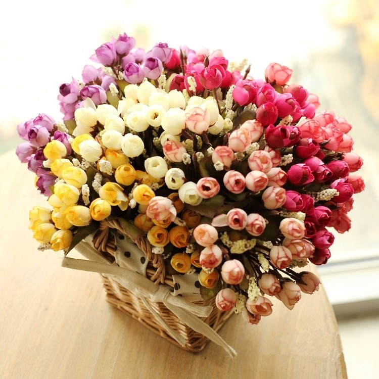 Colorful Silk Flowers artificial flower 15 heads Mini Rose Home Decor for wedding small roses bouquet decoration (3)