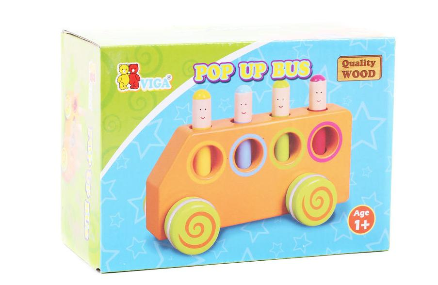 Baby Brand wooden funny pop up bus for car toys / Kids Child toy vehicles for baby girl boy with lovely smile dolls(China (Mainland))