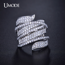 UMODE Vivid Ring Unique Shaped White Gold Plated CZ Diamond Full Paved Cocktail Rings for Womens Fashion jewellery UR0205(China (Mainland))