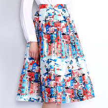 LANLAN Brand High Waist Back Zipper Pleated Prints Skirt Spring Summer 2016 New Fashion Big hem Beautiful Women Midi Skirts