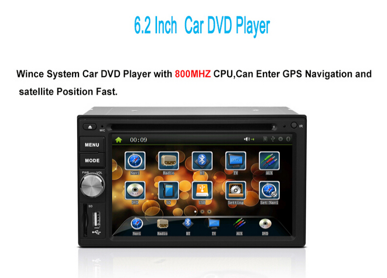 """HD 6.2"""" Two 2 DIN Car DVD Player Head Unit with GPS Navigation Bluetooth hands-free USB SD Touch Screen(China (Mainland))"""