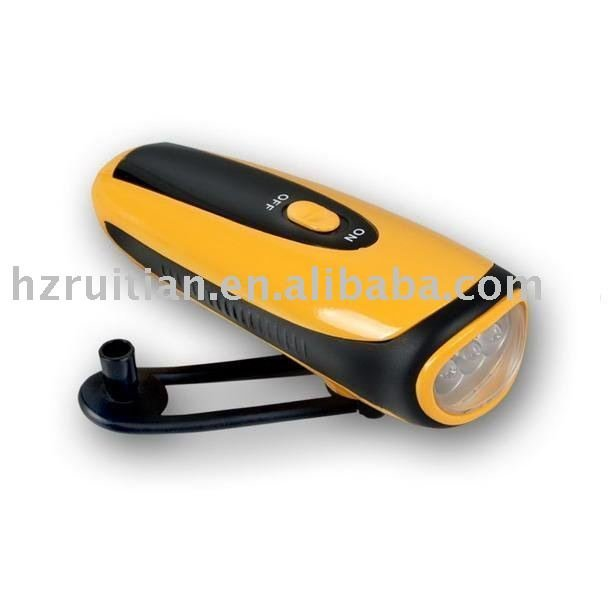 Dynamo LED Flashlight with Mobile Charger and Three LED Bulbs in Front(281B)