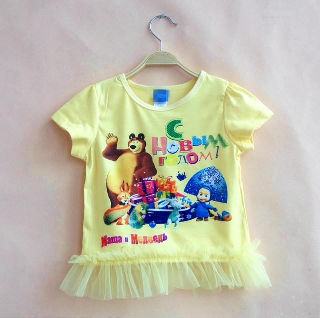 Маша и медведь девочка одежды короткий рубашки летний стиль roupas infantis menina ropa feminina де ninas camisetas вершины