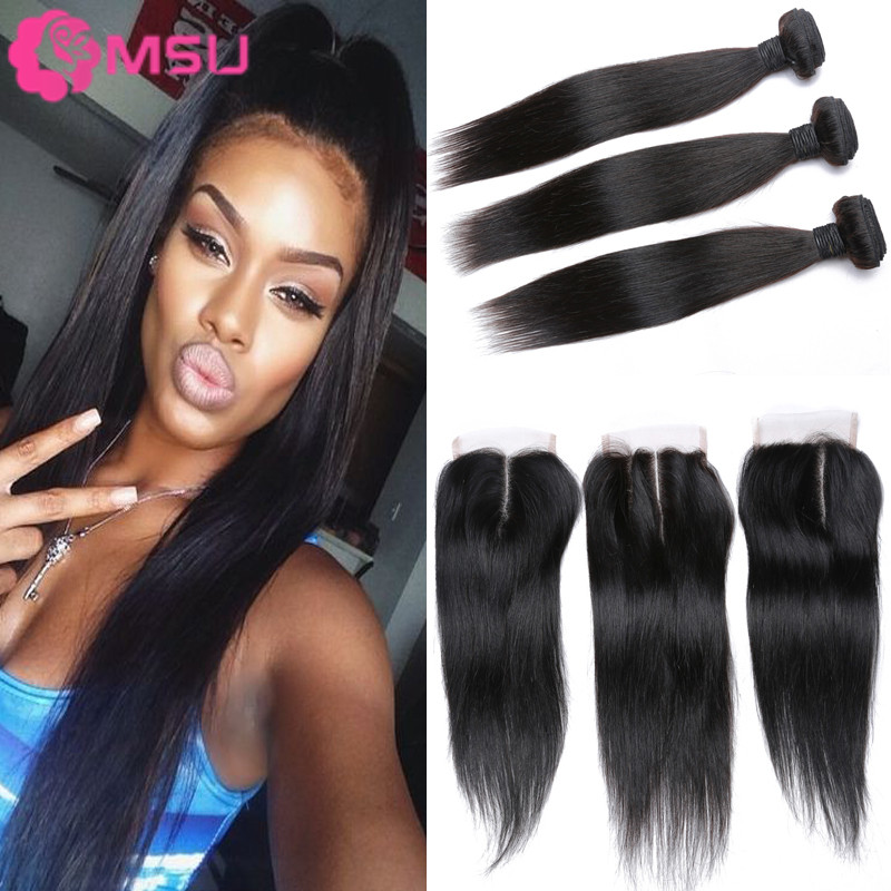 Elfin Hair Peruvian Straight 3 Bundles And Closure 7A Unprocessed Peruvian Straight Virgin Hair With Lace Closure Bleached Knots<br><br>Aliexpress