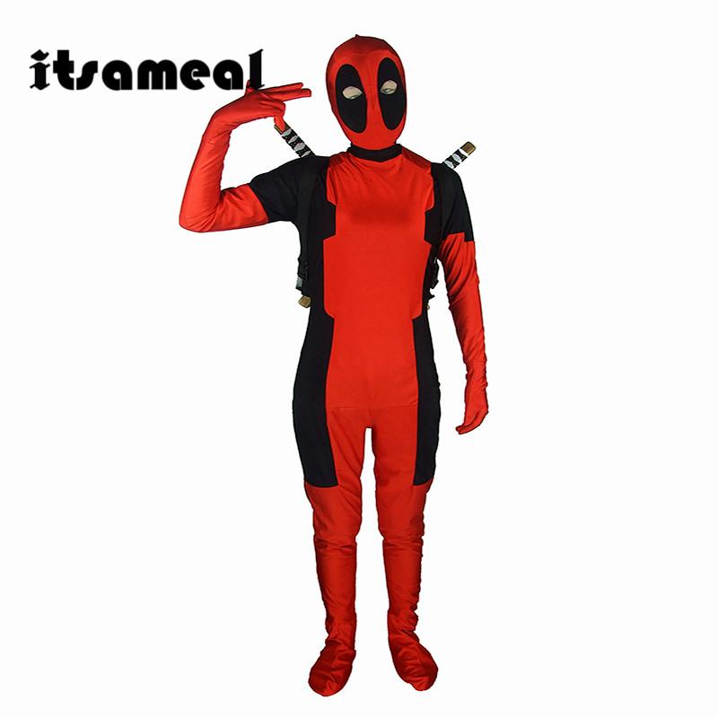 Cool KIds Deadpool Costume Red full body spandex Boy Cosplay Costumes Two style deadpool costume Kids - ANHUI RUIQIQIAN TRADE CO,. LTD store