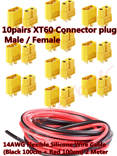 10pairs XT60 Connector plug Male / Female +14AWG Silicone Wire Cable (Black 100cm + Red 100cm) 2 Meter for RC Battery ESC quad<br><br>Aliexpress