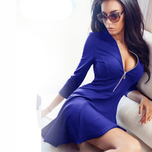 2017 Spring Summer Fashion Ladies Pleated Dress Women Sexy V-Neck Party Mini Dress Casual 3/4 Sleeve Chest Zipper Solid Dresses(China (Mainland))