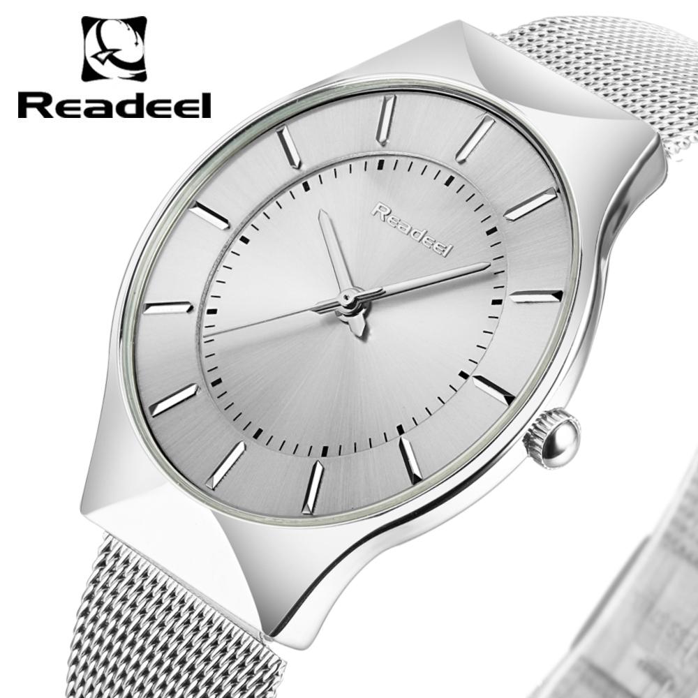 Super slim Quartz Men Casual Wristwatches Business Waterproof Readeel Brand Steel Analog Quartz Watch Men's 2016 relojes hombre(China (Mainland))