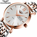 GUANQIN Watch Men Quartz Fashion Watches Brand Luxury Automatic Date Business Steel Strap Male Wrist Watch