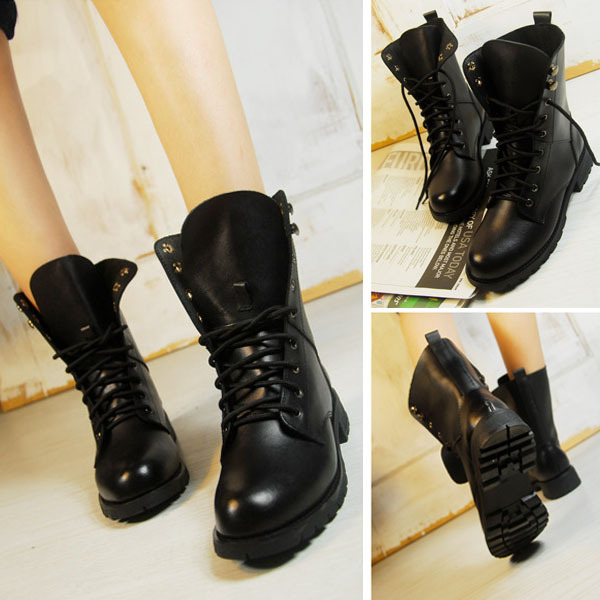 2015 Women Boots New Fashion Round Toe Cool Ankle Army Flat Winter Autumn Shoes Lace-up Black PU Leather Antislip BootO062 - eeeShopping store