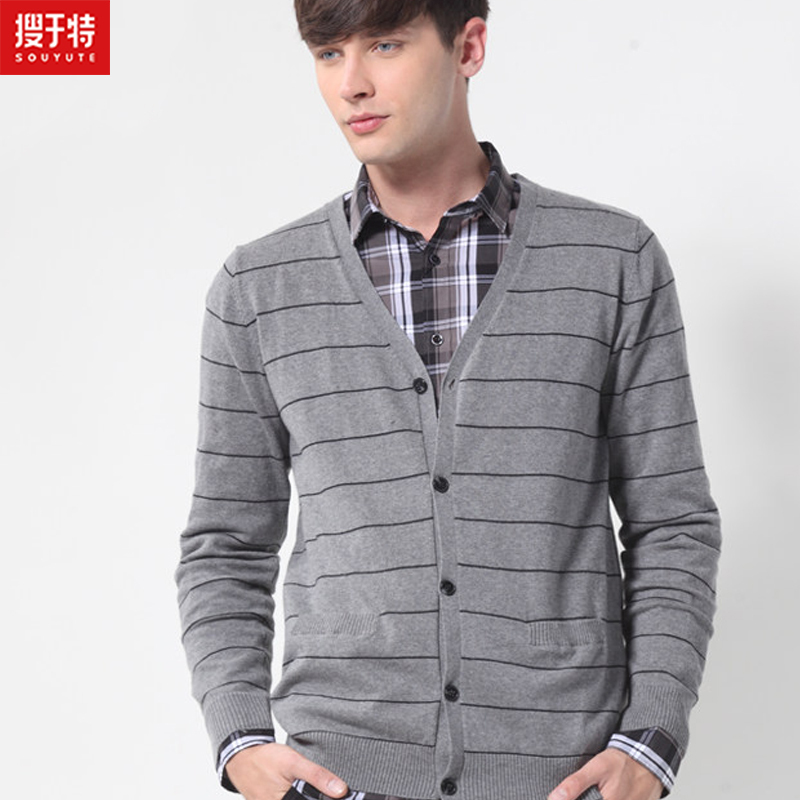 Souyute 2015 New Men's Sweater Fashion Knitting Cardigan Sweater Men Cardigan Sweater Leisure Men V-Neck Sweater B3OB66769(China (Mainland))
