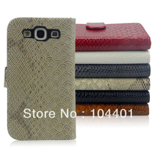 free shipping 1pc New Snake Flip Leather Case w/Card Slot For Samsung Galaxy S3 i9300, galaxy SIII I9300(China (Mainland))
