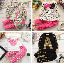 2014 New Spring Babi Girl Clothing Set Children Flower Bow Cute Suit 2PCS Kids Twinset Top