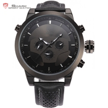 Buy Requiem Shark Sport Watch 6 Hands Calendar Dual Time Zone Black Dashboard Leather Band 3ATM Waterproof Men Military Clock /SH210 for $57.99 in AliExpress store