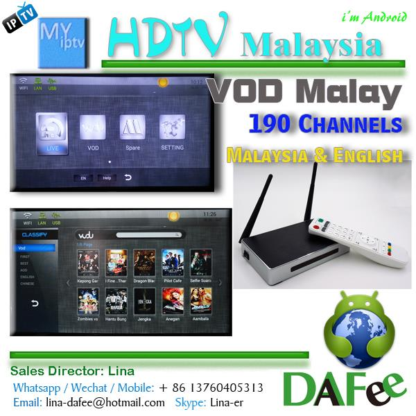 Myiptv Server IPTV Quad Core Android TV Box Astro Malaysia Malay VOD Movies 190 channels HDTV Media Player 1 Year Free DHL Free(China (Mainland))