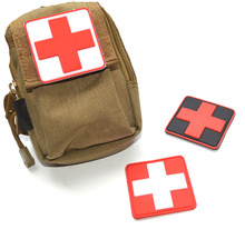 1 PC 3D PVC Rubber Red Cross Velcro Patch Medic Paramedic Tactical Army Morale Badge