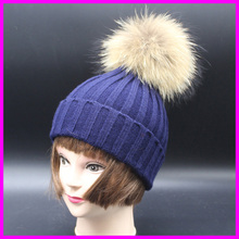 2016 Fashion Children Raccoon Fur Pompom Hat Cap Winter Knitted Baby Beanies Hats For Kids(China (Mainland))