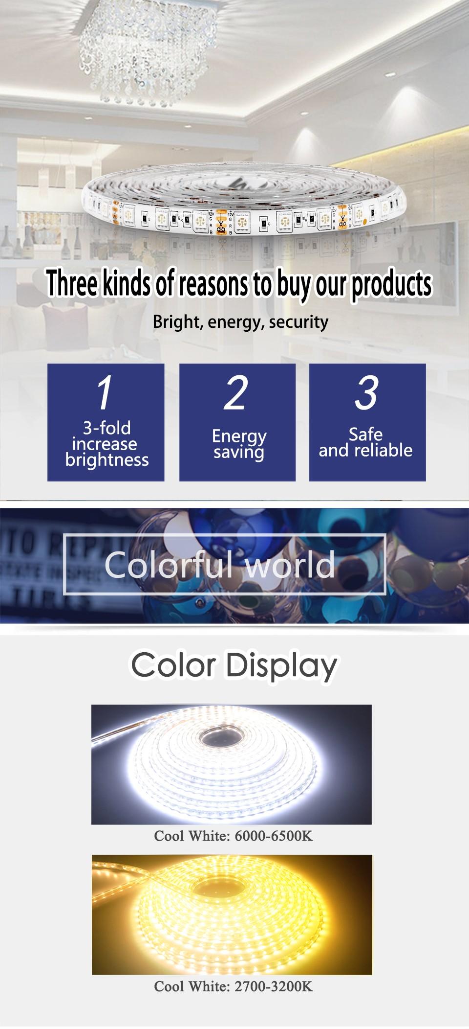 5M LED strip 3528 5050 60pcs/m DC12V LED Light RGB Cold white yellow red green blue Warm white