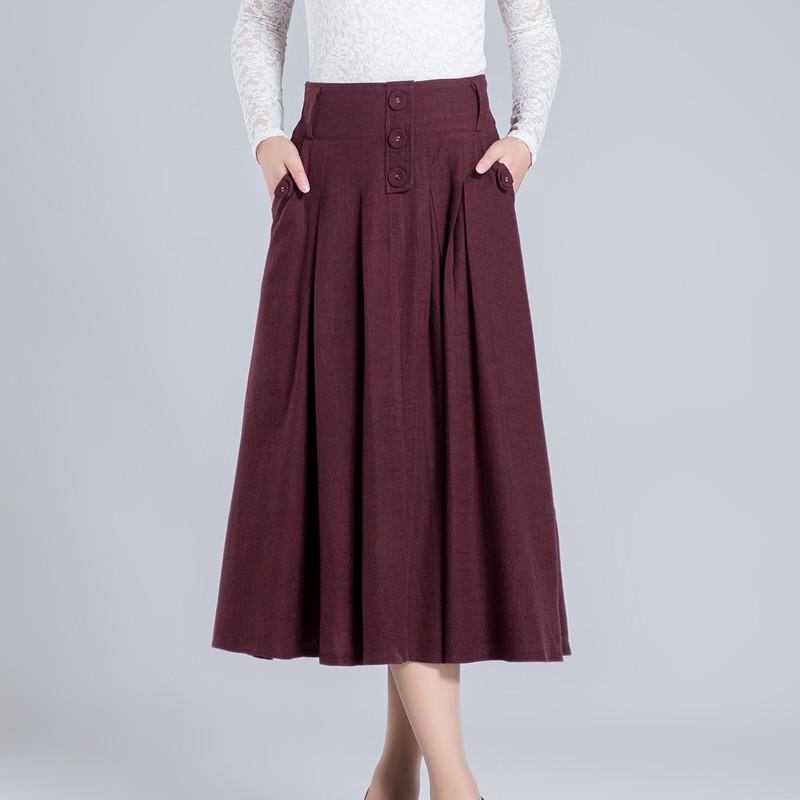new winter cotton skirt solid winter skirt high