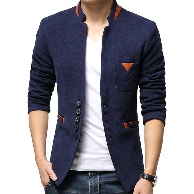 Новые 2016 мужчин свободного покроя бизнес пиджаки уменьшают подходящие кожа лоскутное ...