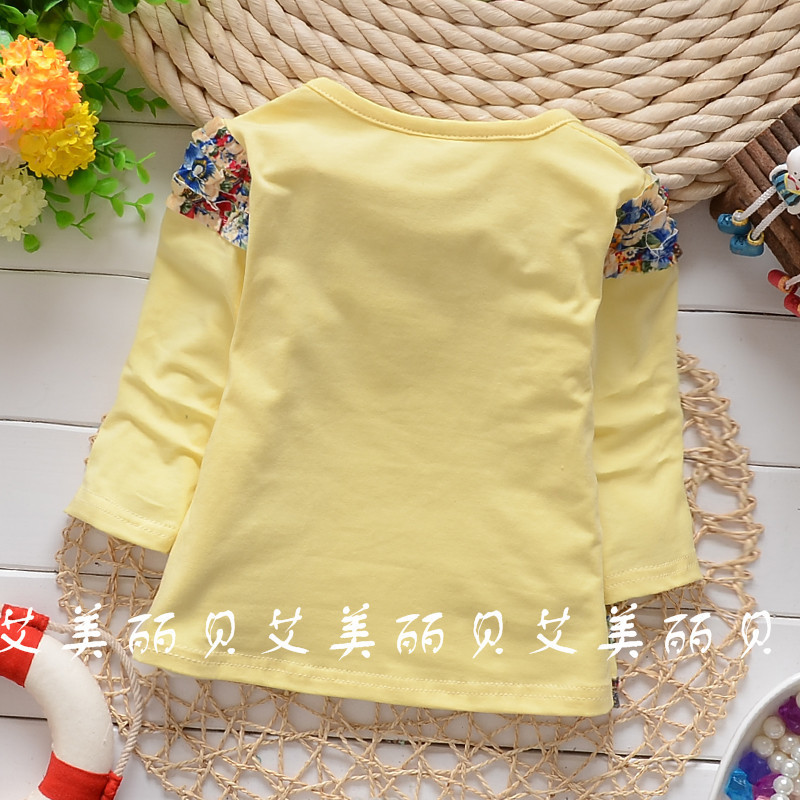 2016 Spring Autumn baby girls Double bow fabric-sleeve shirt child long sleeve tops tees clothing free shipping