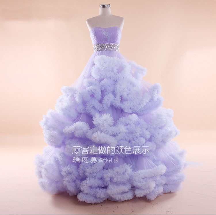 Gorgeous Puffy Ball Gown A line Sweetheart White/Red/Lavender Tulle Wedding Dresses 2015 Bridal Gown(China (Mainland))