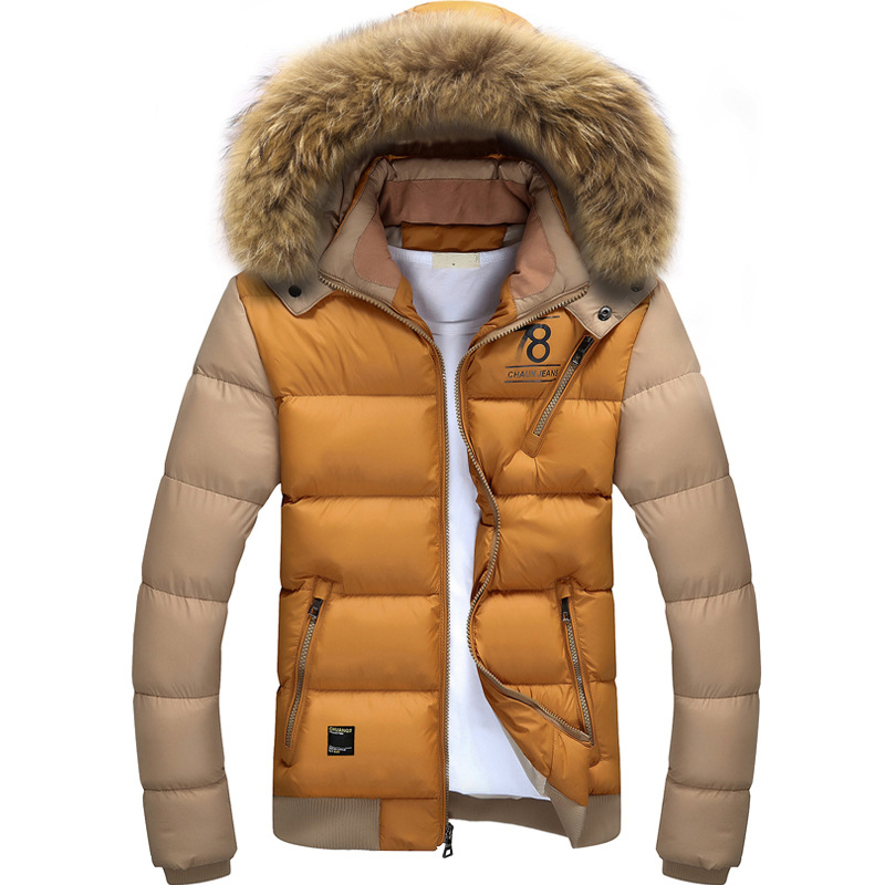 Slim Fur Collar Mens Winter Coat With Hood Factory Support Thick Patchwork Men Fur Hood Jacket(China (Mainland))