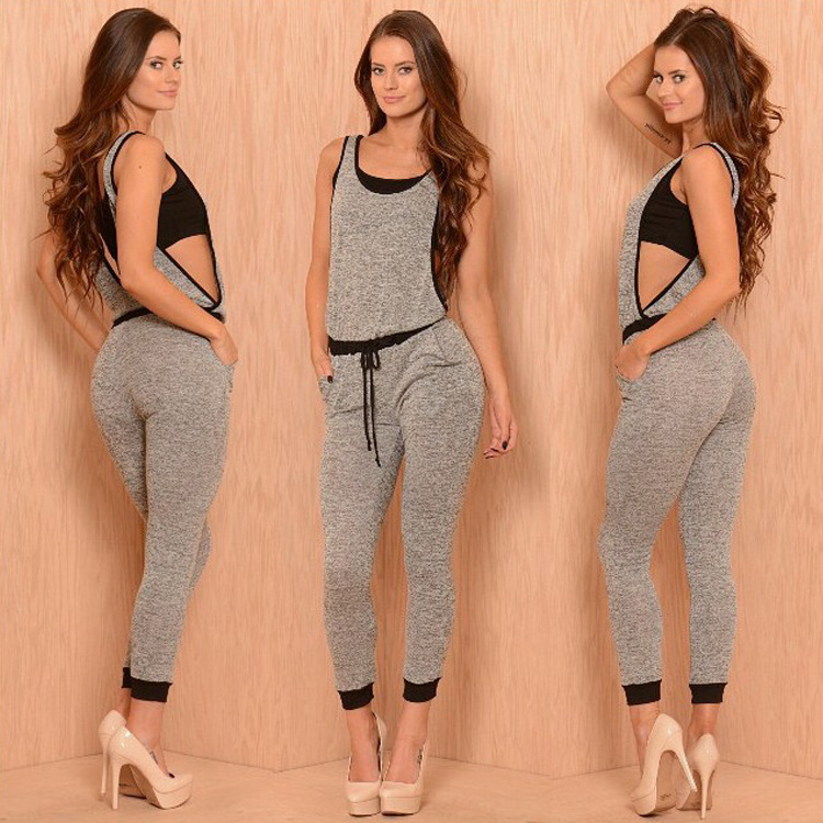 New design hollow gray women jumpsuits fashion sexy rompers sleeveless casual bodysuit women patchwork macacao overalls playsuitОдежда и ак�е��уары<br><br><br>Aliexpress