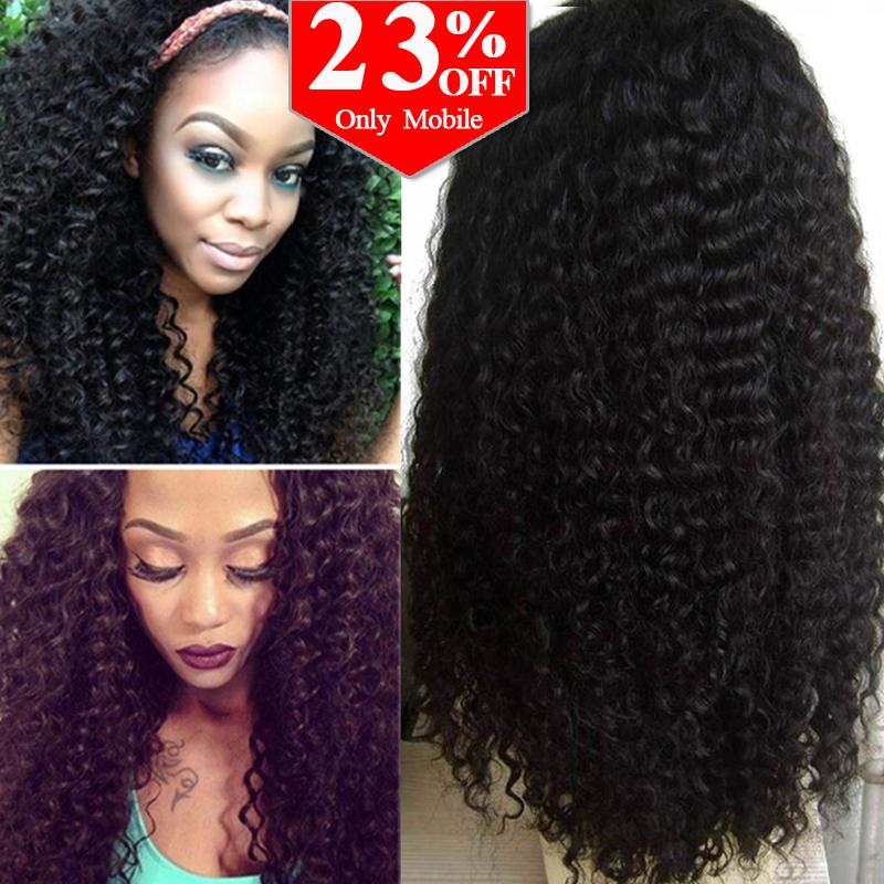 7A Glueless Full Lace Human Hair Wigs For Black Women Brazilian Virgin Hair Kinky Curly Lace