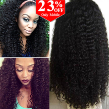 "Free Shipping Brazilian Virgin Kinky Curly Human Hair Lace Front Wig/Glueless Full Lace Wig For Black Women #1b 8-24"" in stock"