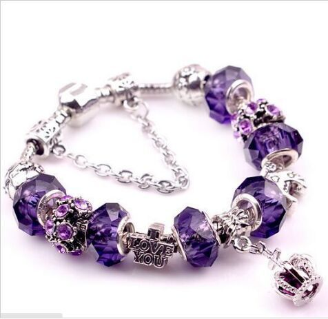 various style Fashion Jewelry Crown charm Bracelets & Bangles violet Glass European Beads fits bead bracelets for Women Gift