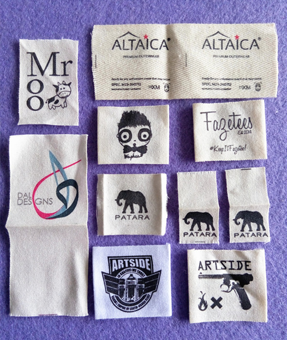 1000pcs high quality garment accessories soft printed cotton tags/labels white background with any colors printing(China (Mainland))