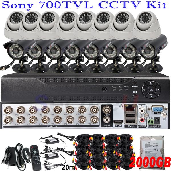 Best quality 16ch cctv kit whole set IR security surveillance video monitor system 16ch D1 HD DVR digital video recorder 2TB HDD(China (Mainland))