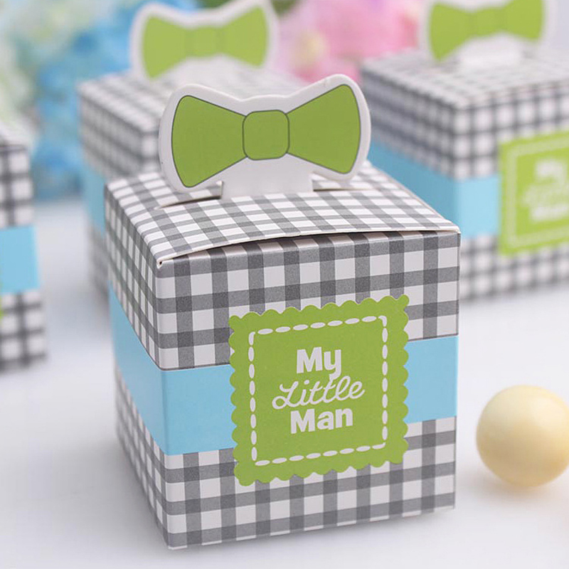 My little Man Tie Birthday Baby Boy Shower Favor Candy Boxes and Bags Wedding Favors Wedding Souvenirs XTH0094(China (Mainland))