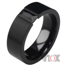 cool new  men's black rings stainless steel fashion rings for men  with cz stone 8 mm Wide free shipping