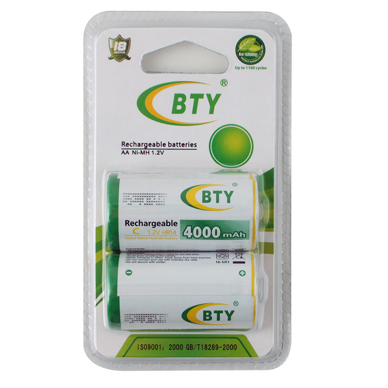 High Quality BTY 2 PCS C Size 4000mAh 1.2V HR14 NiMH Rechargeable Batteries(China (Mainland))
