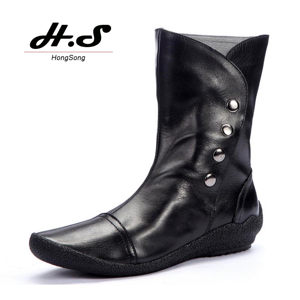 Здесь можно купить  Genuine Leather Flat Platform Women Vintage Motorcycle Boots Mid Calf  Boots Round Toe Wedges Half Combat Boots Ladies Botas   Обувь