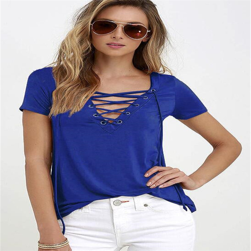 2016 Summer European Fashion Lace Up T Shirt Women Sexy V Neck Hollow Out Top Casual Basic Female T-shirt Plus Size Ten Colors(China (Mainland))