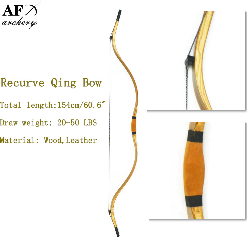 Archery Qing Bow and Arrow Sport for Hunting Recurve Longbow Sales Wood Leather 20 45lbs draw
