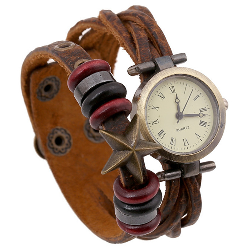 NEW Roma Number Vintage Women Genuine Leather Watches Men Ladies Dress Watch Female Pentagram Wrap Quartz Beaded Bracelet Watch(China (Mainland))