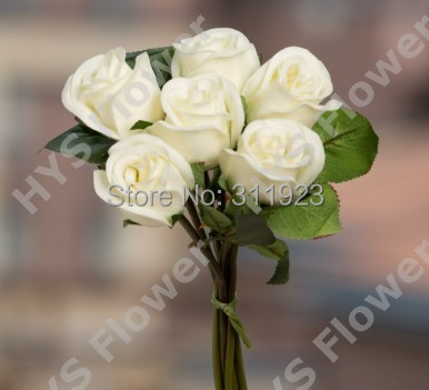 Soft touch latex artificial white 6 head rose bud bouquet(China (Mainland))