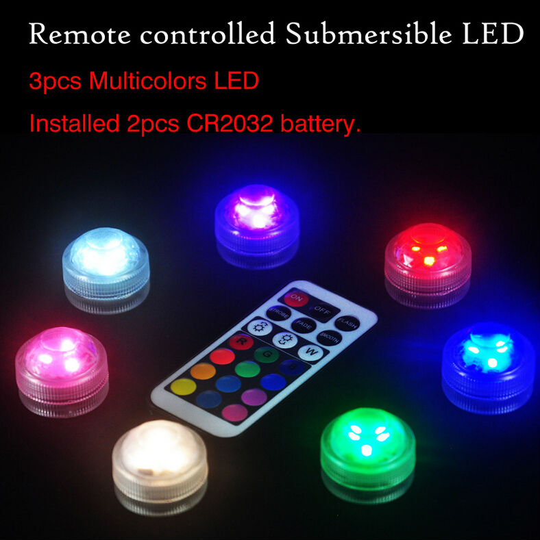 20PCS/Lot Free Shipping Waterproof 3 LED Multi Color Submersible Led Wedding Party Vase Base Light for Swimming Pool Night Light(China (Mainland))