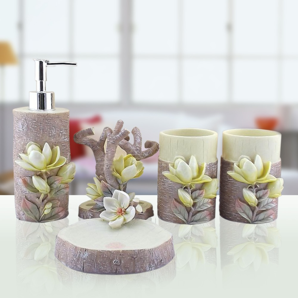 hand engraved plant 5pcs lily sculpture resin bathroom accessories set art bath set toothbrush holder soap