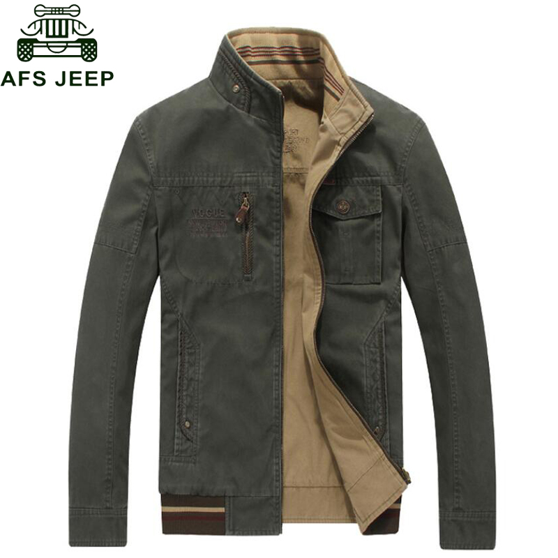AFS JEEP 2016 Brand Clothing Men's Jackets Casual Wear On Both Sides Stand Zipper Collar Men Autumn Jacket Slim Male Coat(China (Mainland))