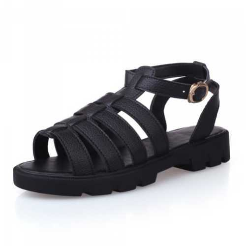 White Black Open Toe Shoes Roman Sandals Flat With Platform Shoes Cheap Sandals Summer Women Shoes Woman Sandals(China (Mainland))